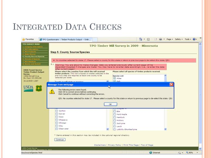 Integrated Data Checks
