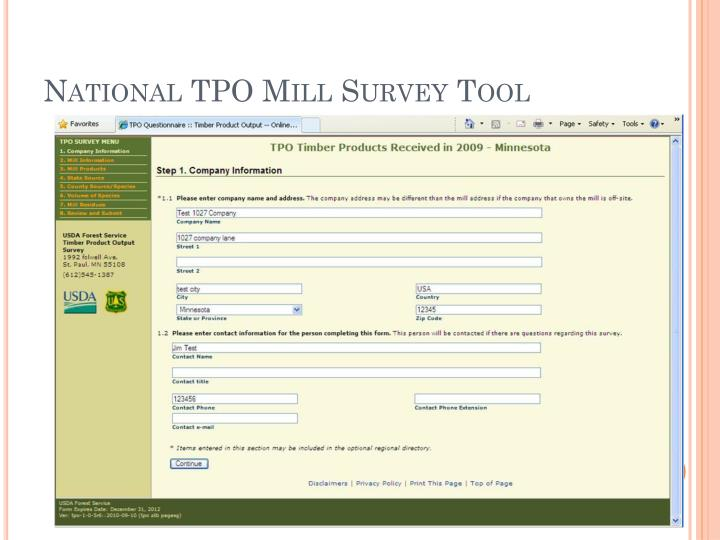 National TPO Mill Survey Tool