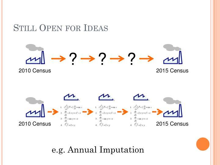 Still Open for Ideas
