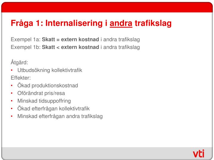 Fråga 1: Internalisering i