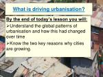 what is driving urbanisation