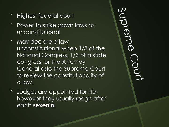 Highest federal court
