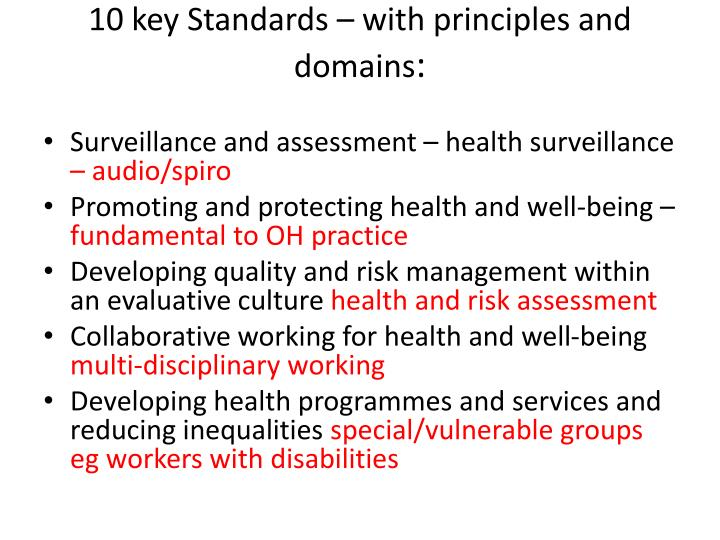 10 key Standards – with principles and domains