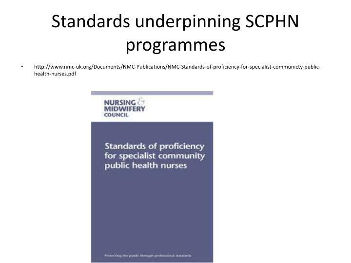 Standards underpinning SCPHN