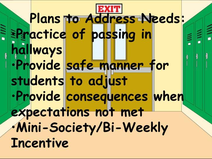 Plans to Address Needs