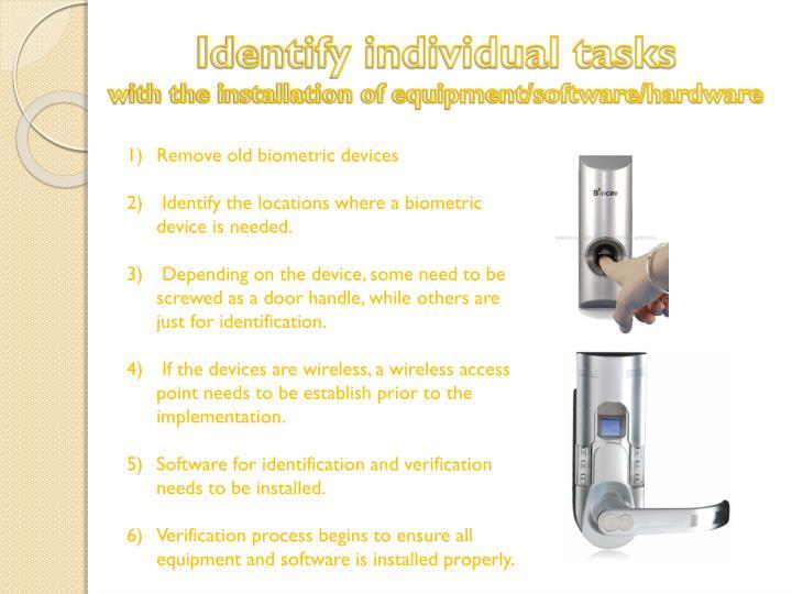 Identify individual tasks