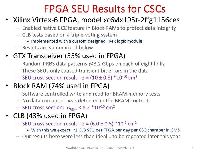 FPGA SEU Results for CSCs