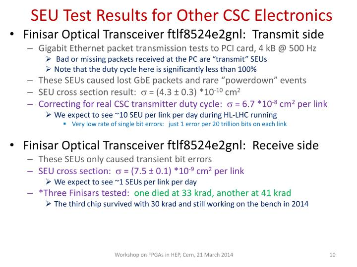 SEU Test Results