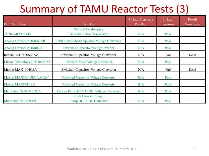 Summary of TAMU Reactor Tests (3)