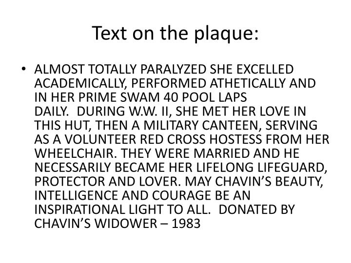 Text on the plaque: