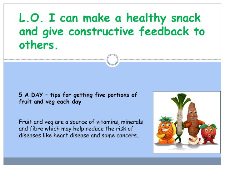 L o i can make a healthy snack and give constructive feedback to others