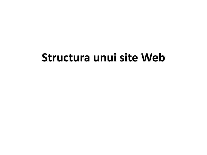 Structura unui site web