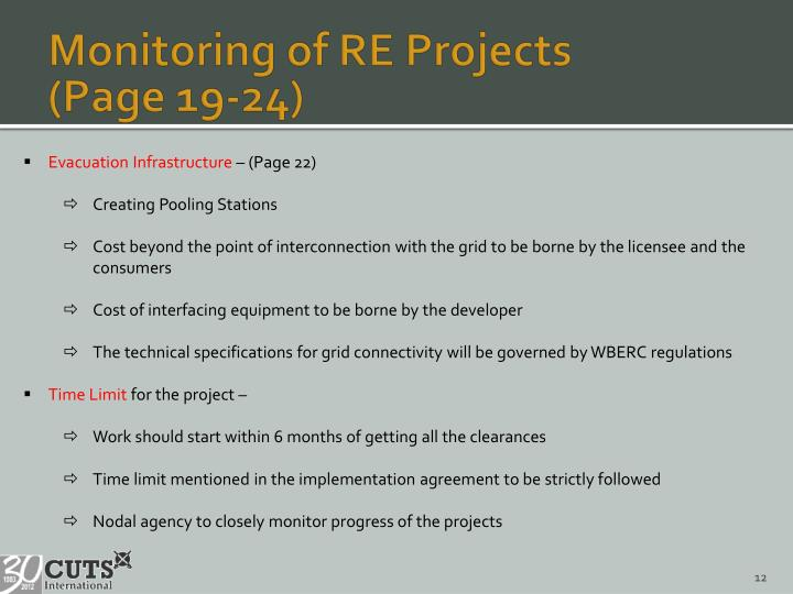 Monitoring of RE Projects