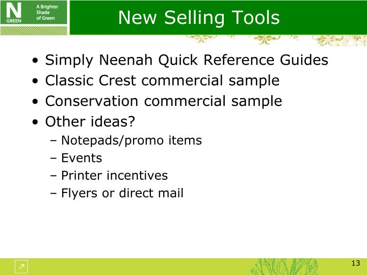 New Selling Tools