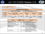 3 2 1 cii ccsds headers 1 2