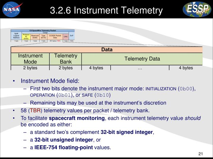 3.2.6 Instrument Telemetry