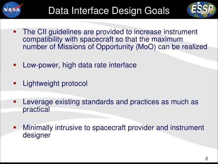 Data Interface Design Goals