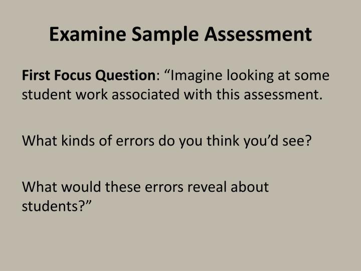 Examine Sample Assessment