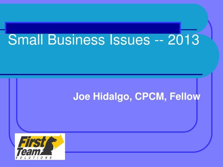 Small business issues 2013