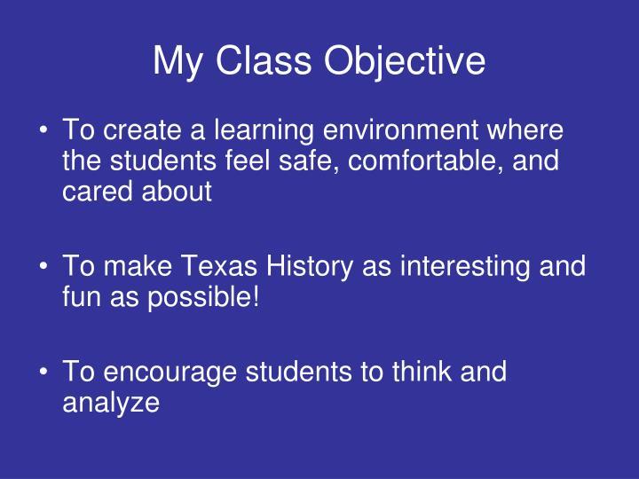 My Class Objective