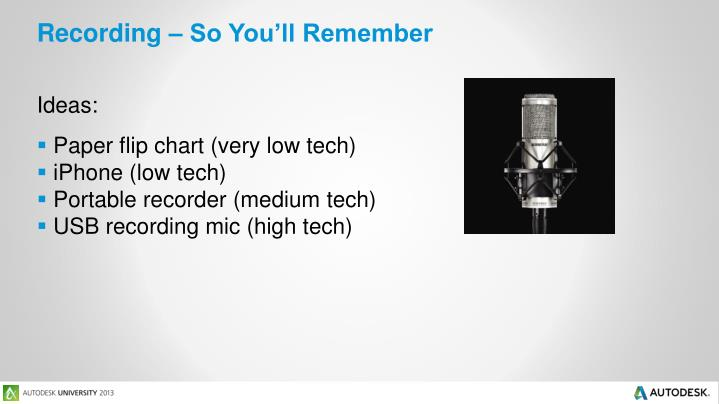 Recording – So You'll Remember