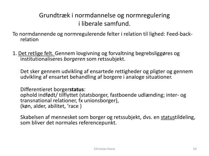 Grundtræk i normdannelse og normregulering