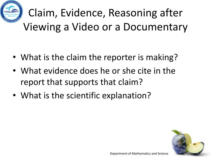 Claim, Evidence, Reasoning