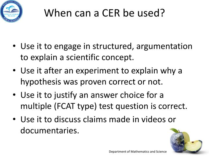 When can a CER be used?