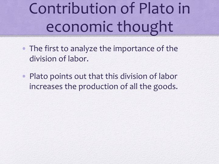 Contribution of Plato in economic thought