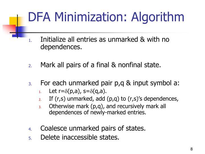DFA Minimization: Algorithm