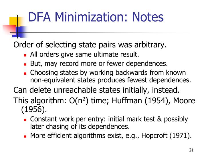 DFA Minimization: Notes