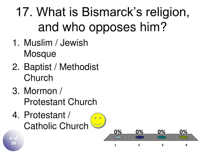 17. What is Bismarck's religion, and who opposes him?