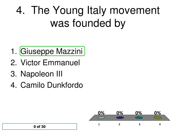 4.  The Young Italy movement was founded by