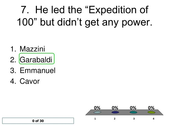 "7.  He led the ""Expedition of 100"" but didn't get any power."