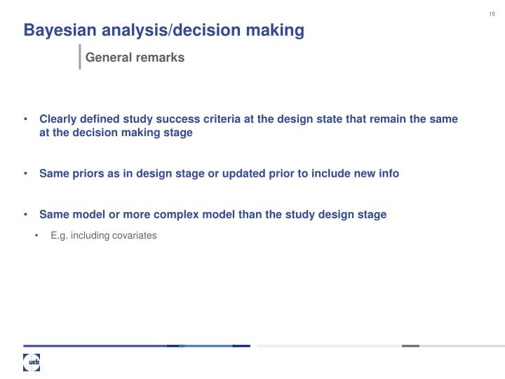 Bayesian analysis/decision making