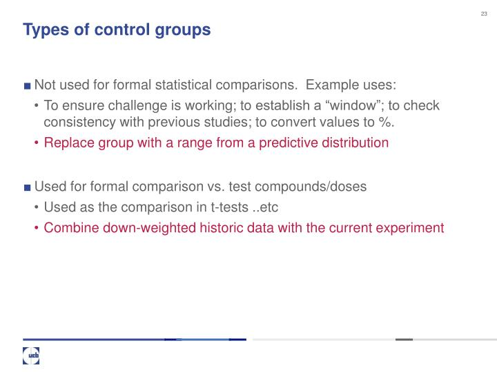 Types of control groups