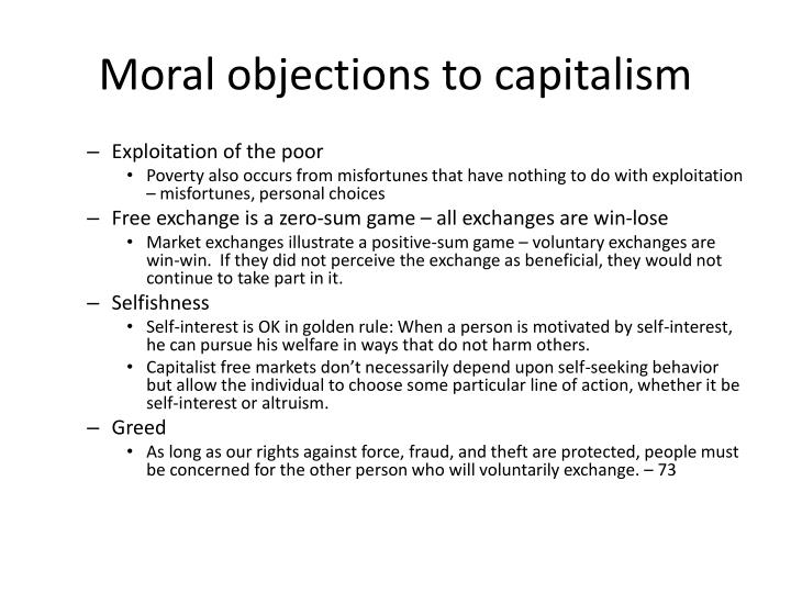 Moral objections to capitalism