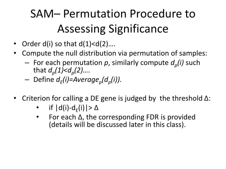 SAM– Permutation Procedure to Assessing Significance