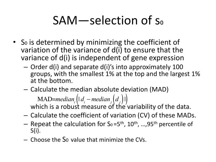 SAM—selection of s