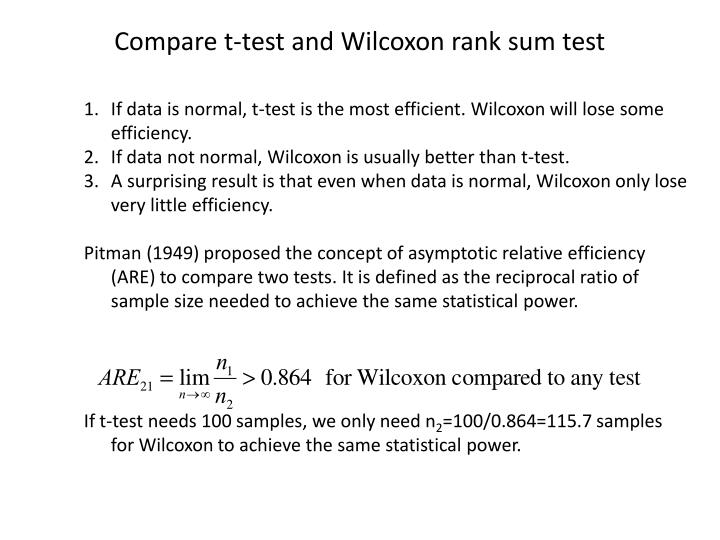 Compare t-test and