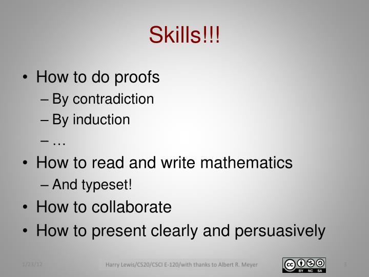 Skills!!!