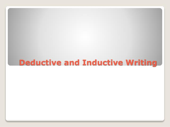 inductive and deductive writing The main difference between inductive and deductive approaches to research is that whilst a deductive approach is aimed and testing theory, an inductive approach is concerned with the generation of new theory emerging from the data.