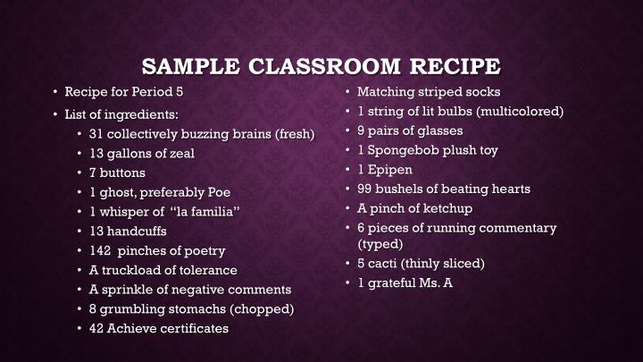 Sample classroom recipe