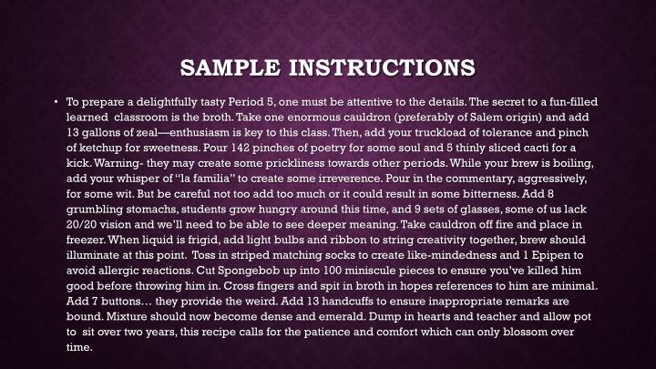 Sample instructions