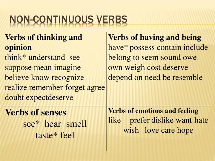 Non-continuous verbs