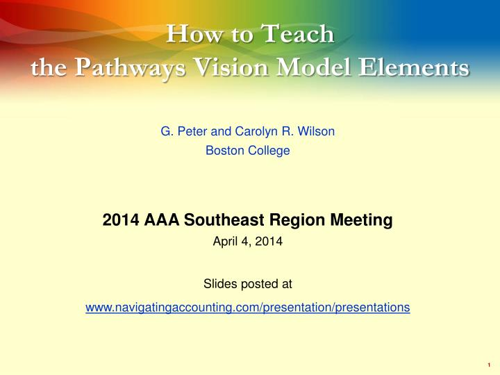 How to teach the pathways vision model elements