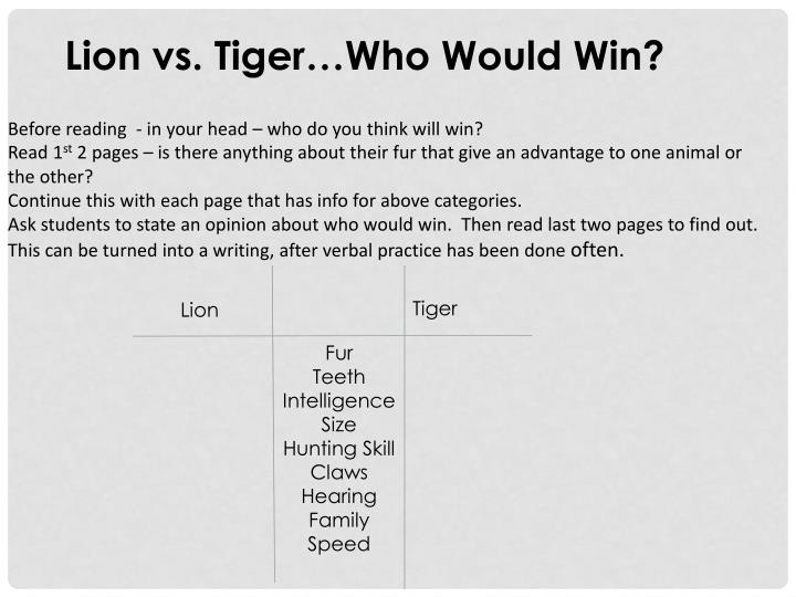 Lion vs. Tiger…Who Would Win?