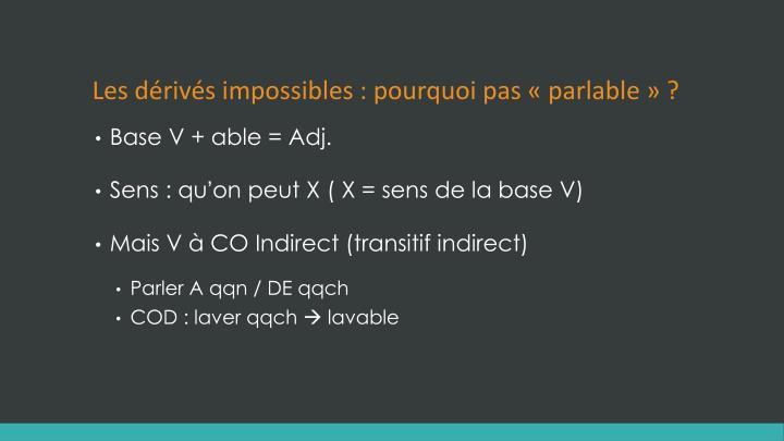 Les dérivés impossibles : pourquoi