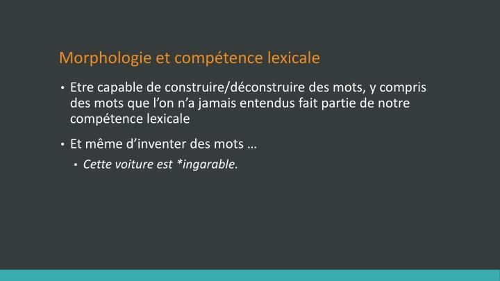 Morphologie et compétence lexicale
