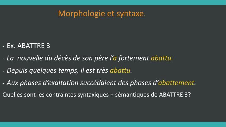 Morphologie et syntaxe